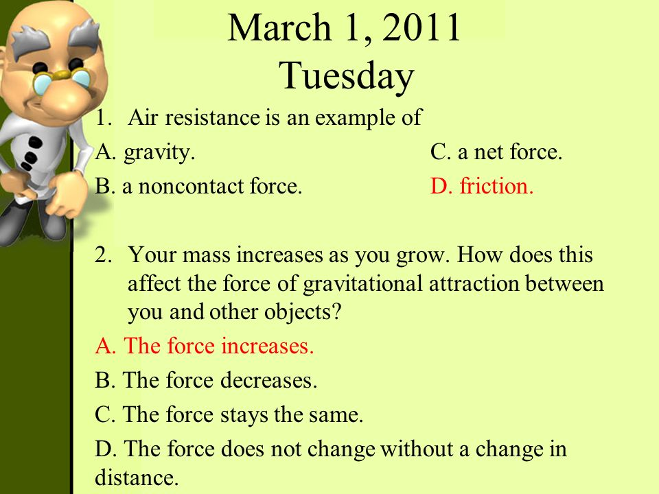March 1, 2011 Tuesday Air resistance is an example of