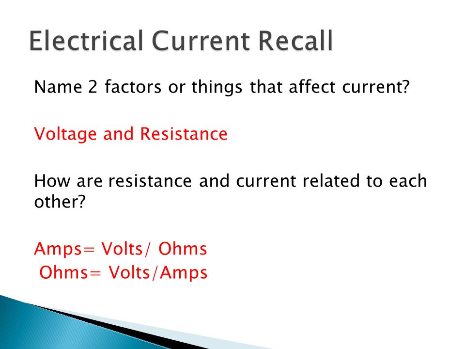 Electrical Current Recall