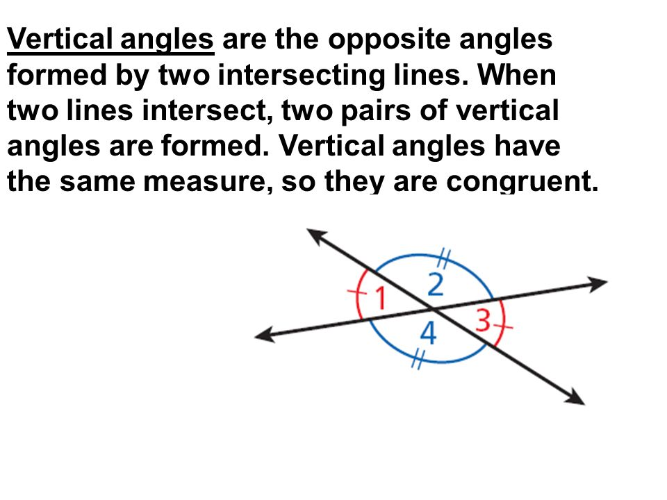 Vertical angles are the opposite angles formed by two intersecting lines.