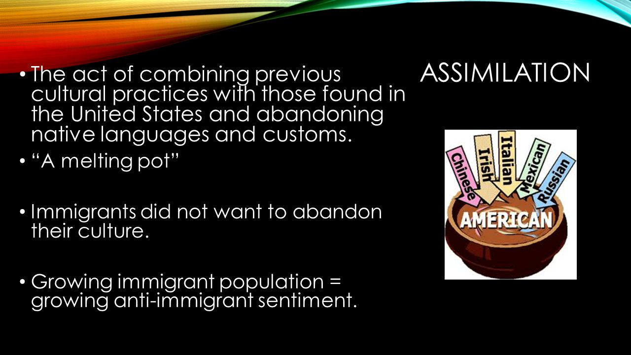 Assimilation The act of combining previous cultural practices with those found in the United States and abandoning native languages and customs.