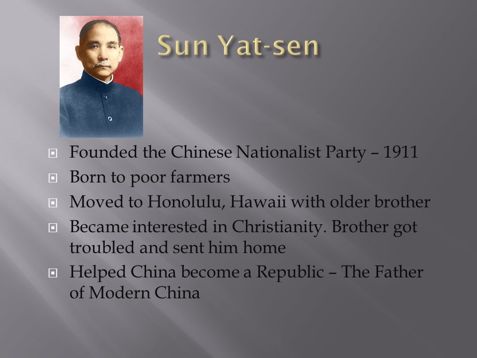 Sun Yat-sen Founded the Chinese Nationalist Party – 1911