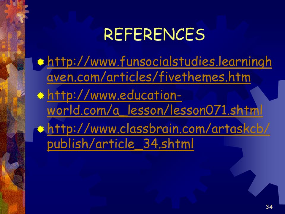 REFERENCES http://www.funsocialstudies.learninghaven.com/articles/fivethemes.htm. http://www.education-world.com/a_lesson/lesson071.shtml.
