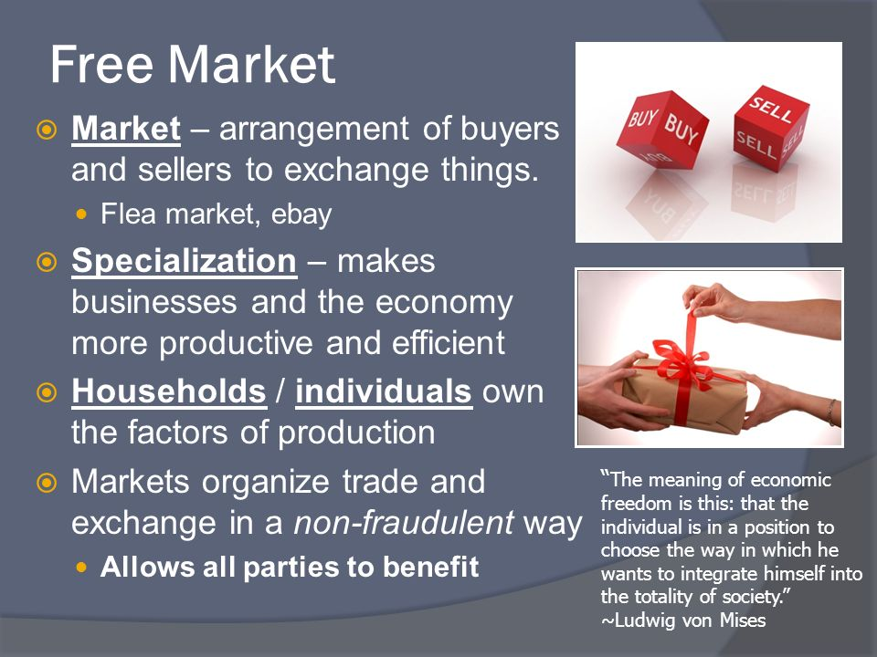Free Market Market – arrangement of buyers and sellers to exchange things.
