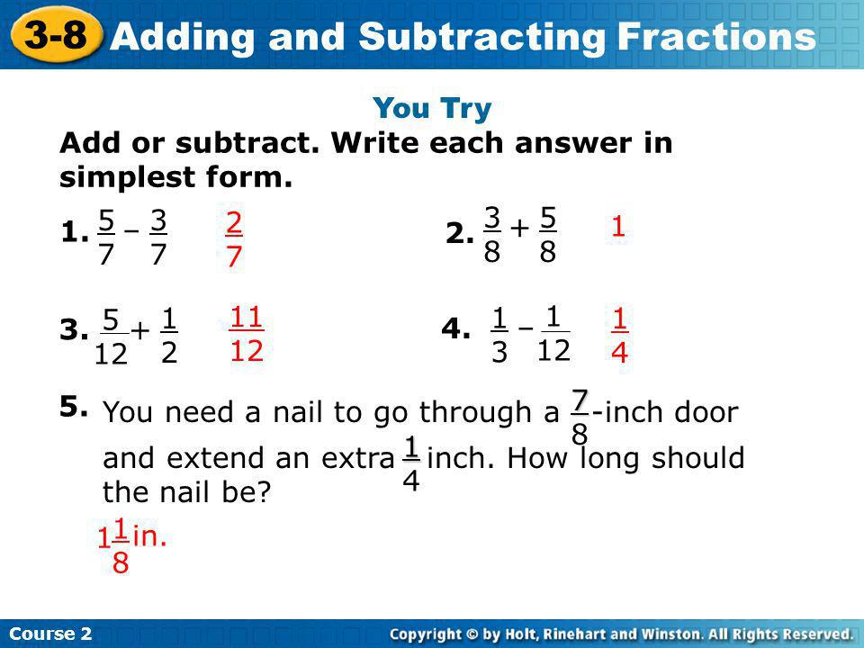 simplest form 5/12  Adding and Subtracting Fractions - ppt download