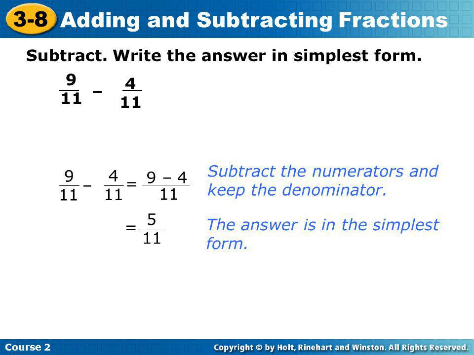 simplest form adding and subtracting fractions  Adding and Subtracting Fractions - ppt download