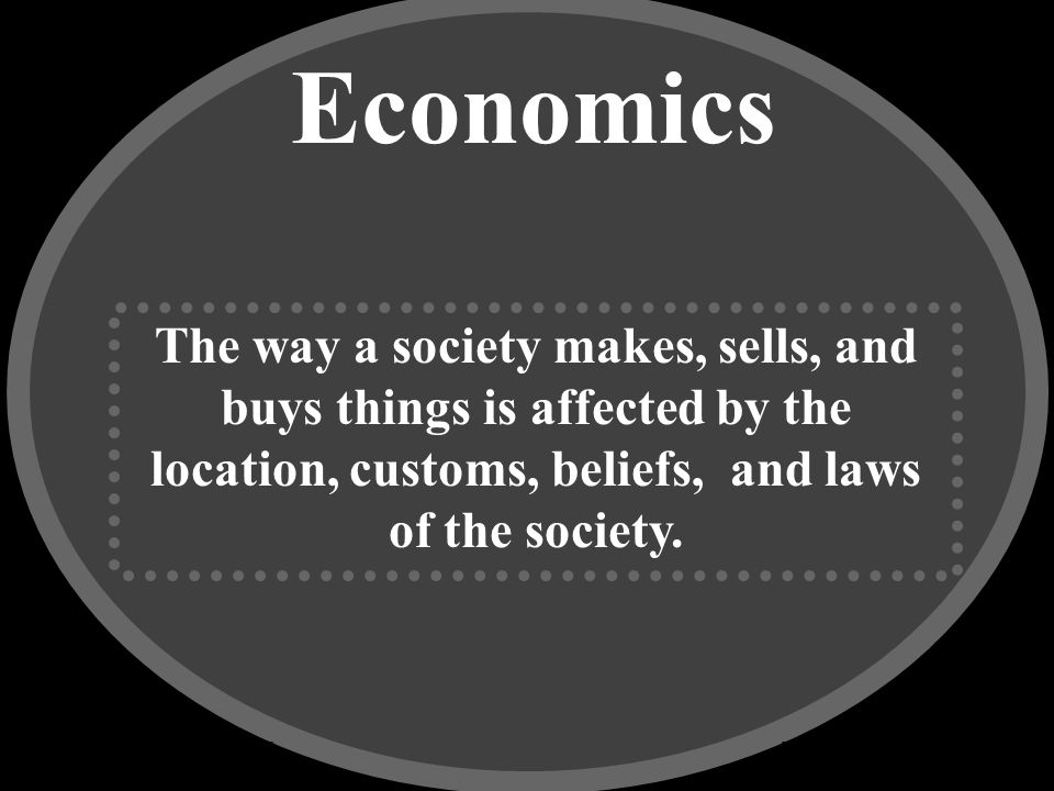 Economics The way a society makes, sells, and buys things is affected by the location, customs, beliefs, and laws of the society.