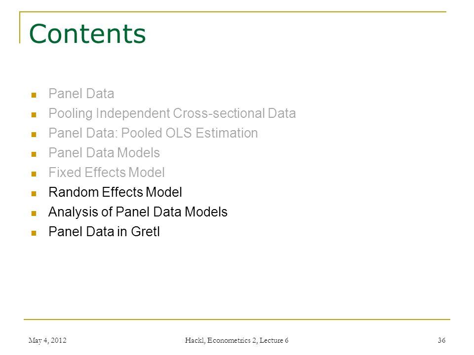 Econometrics 2 - Lecture 7 Models Based on Panel Data - ppt