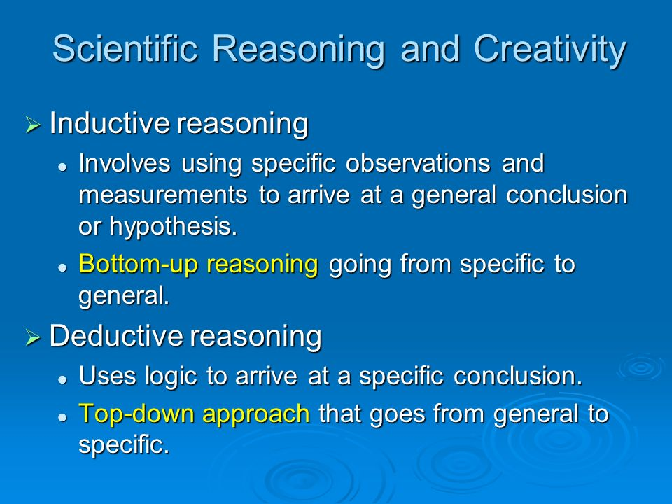 Scientific Reasoning and Creativity
