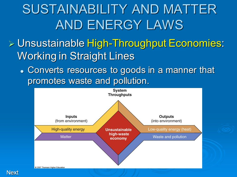 SUSTAINABILITY AND MATTER AND ENERGY LAWS