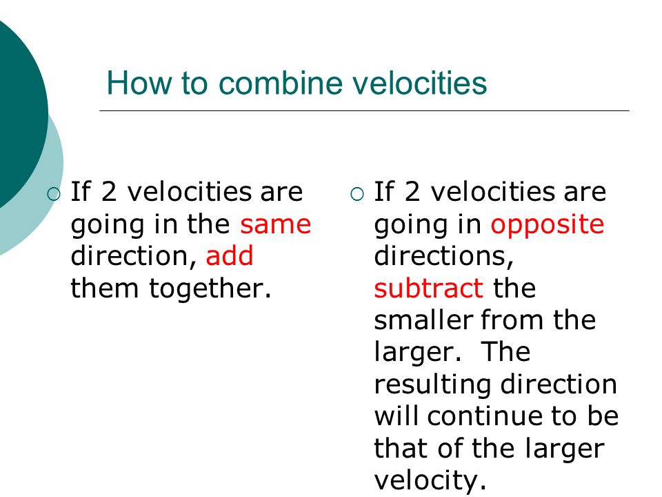 How to combine velocities