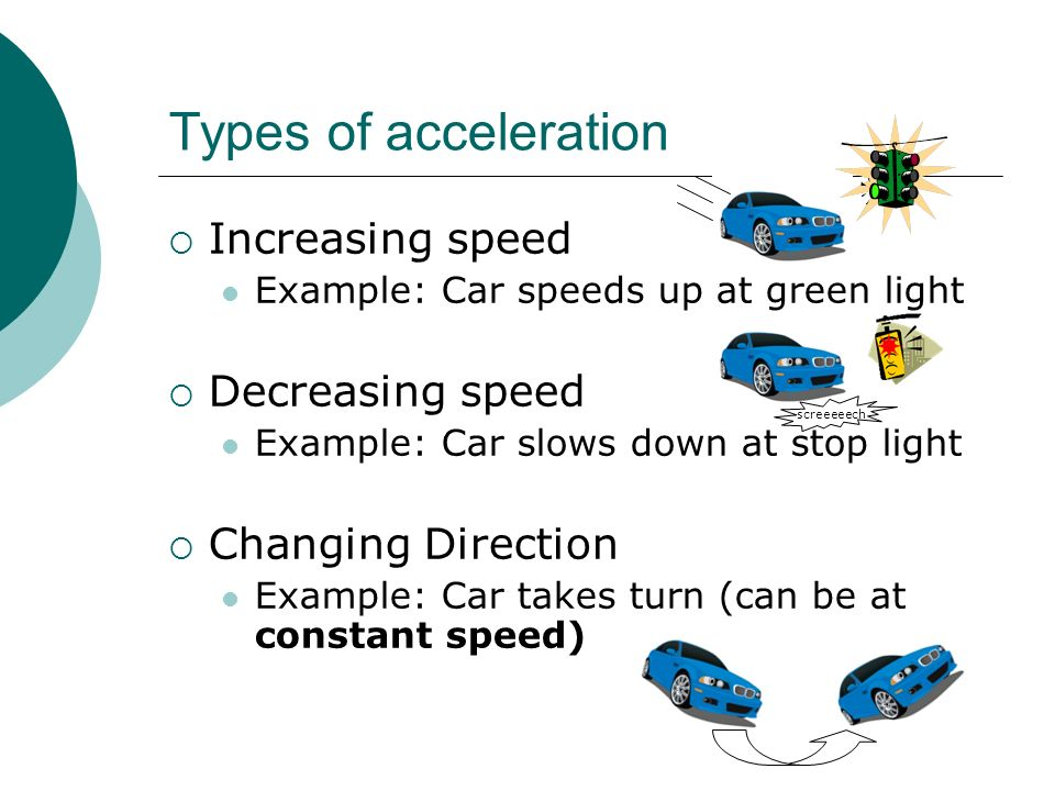 Types of acceleration Increasing speed Decreasing speed