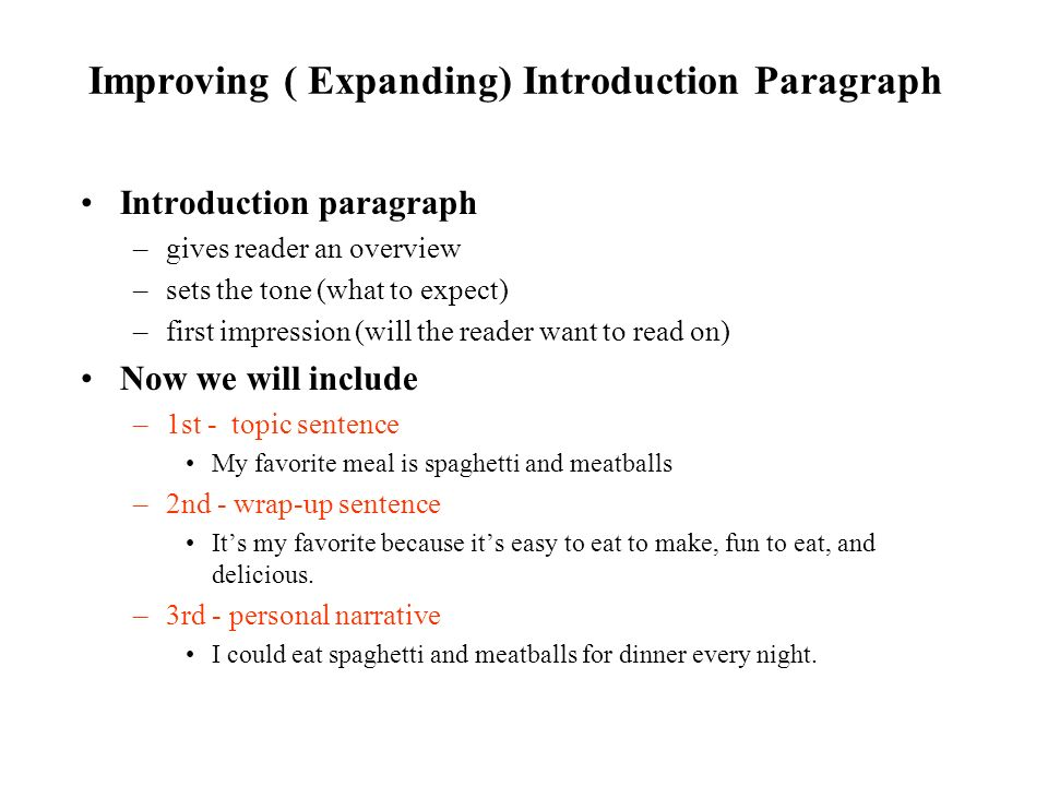 Improving ( Expanding) Introduction Paragraph