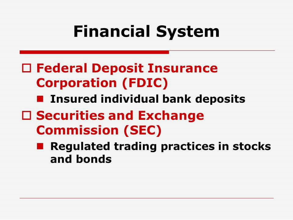 Financial System Federal Deposit Insurance Corporation (FDIC)
