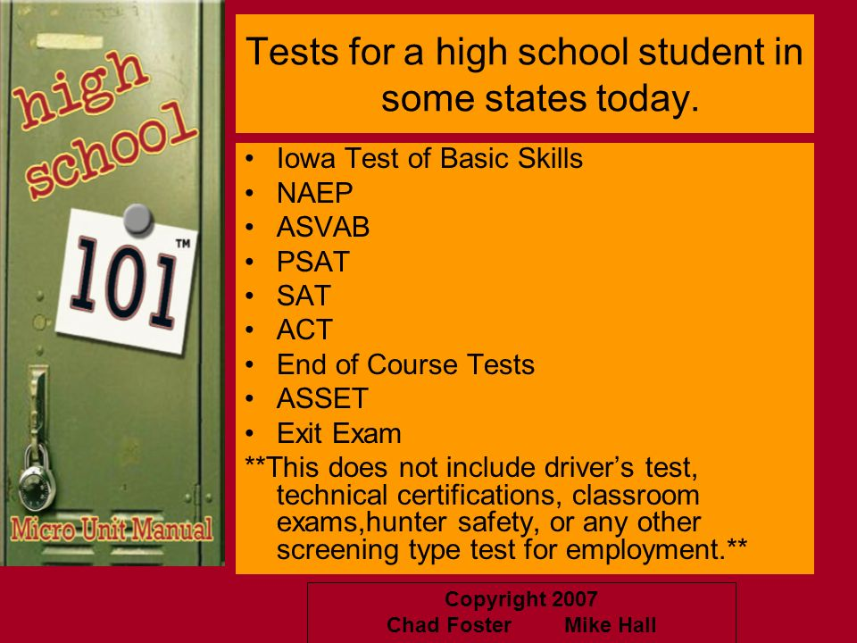 Tests for a high school student in some states today.