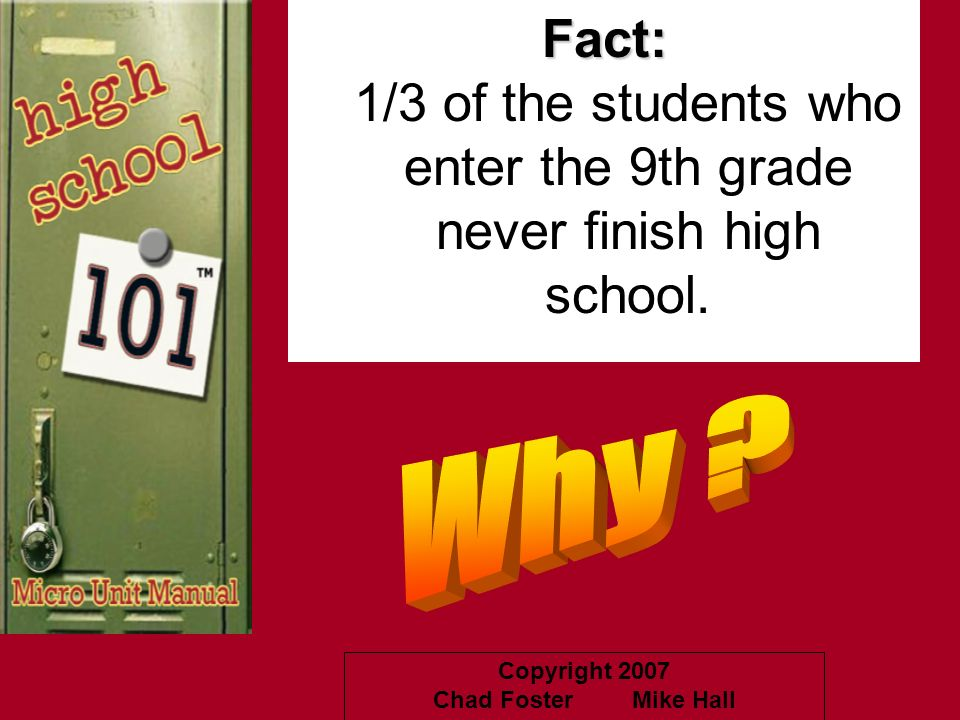 1/3 of the students who enter the 9th grade never finish high school.