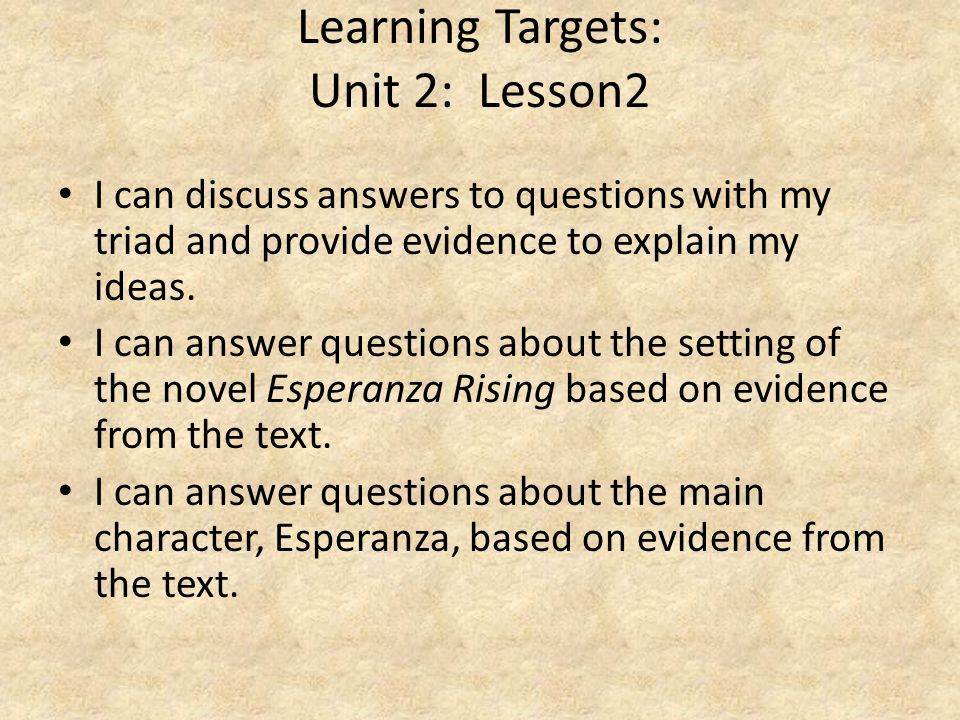 Learning Targets: Unit 2: Lesson2