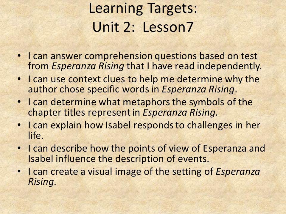 Learning Targets: Unit 2: Lesson7