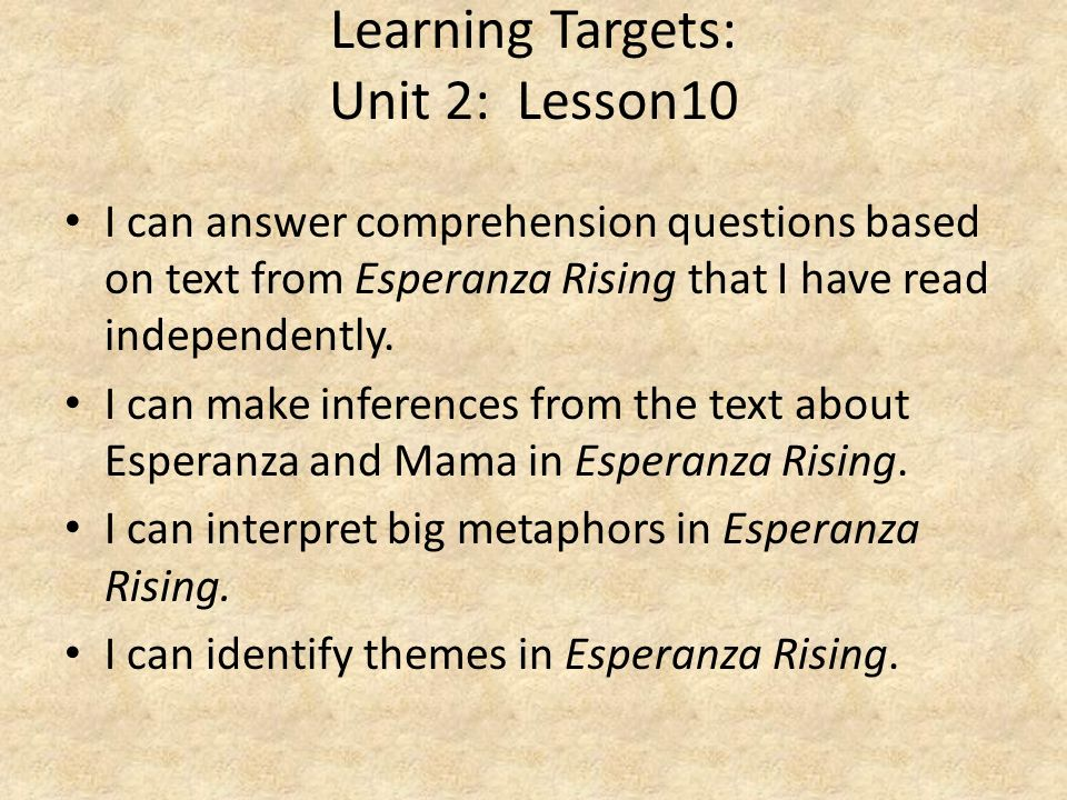 Learning Targets: Unit 2: Lesson10
