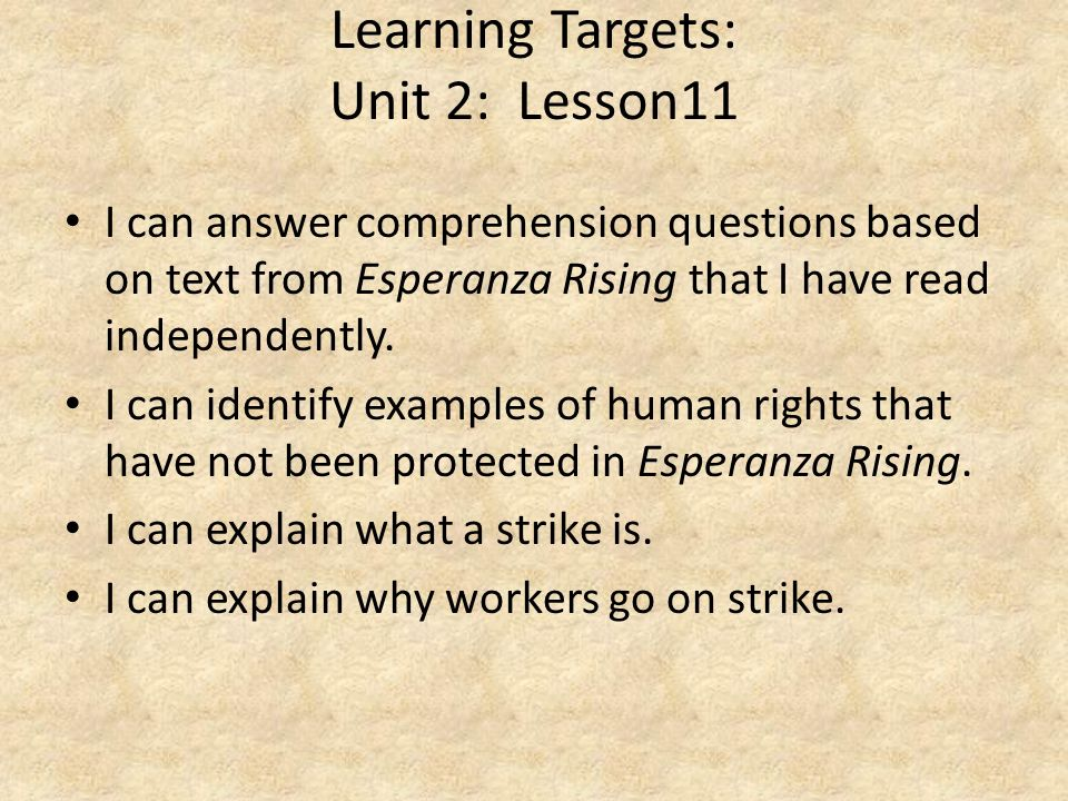 Learning Targets: Unit 2: Lesson11