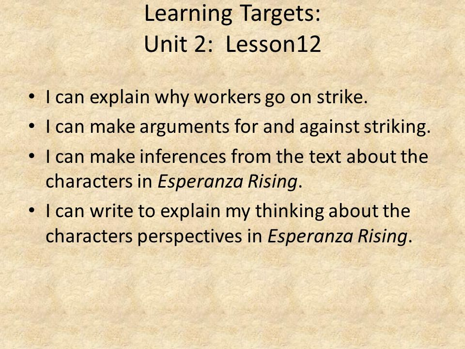 Learning Targets: Unit 2: Lesson12