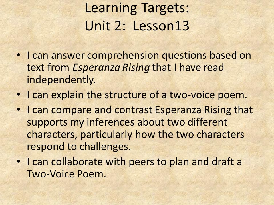 Learning Targets: Unit 2: Lesson13
