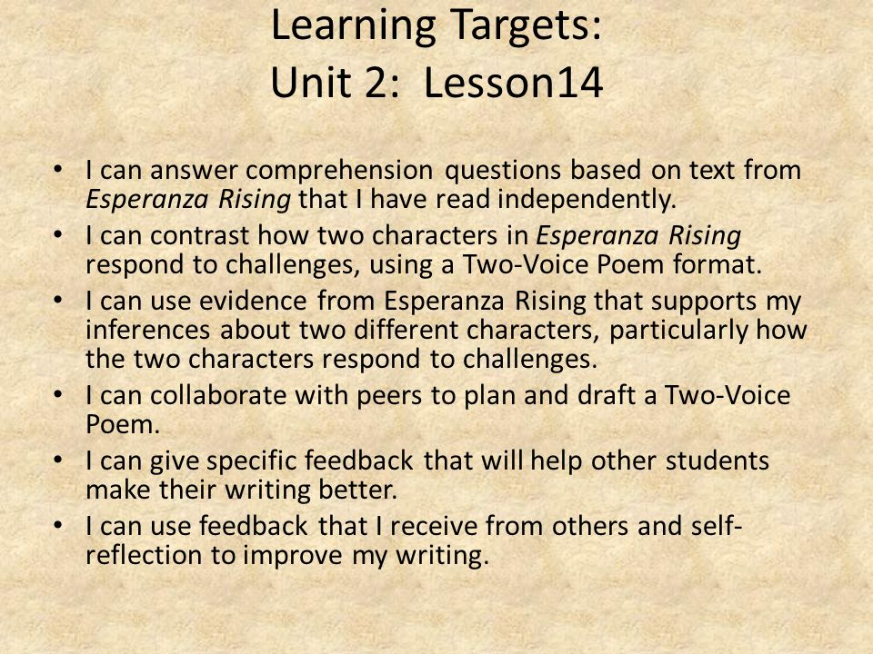 Learning Targets: Unit 2: Lesson14