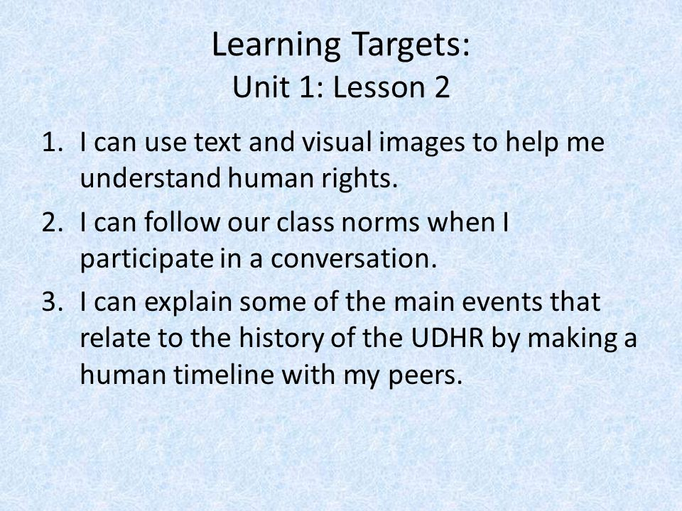 Learning Targets: Unit 1: Lesson 2