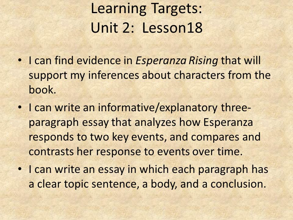 Learning Targets: Unit 2: Lesson18