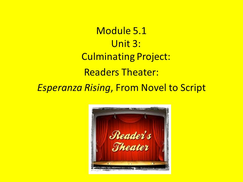 Module 5.1 Unit 3: Culminating Project: Readers Theater: Esperanza Rising, From Novel to Script