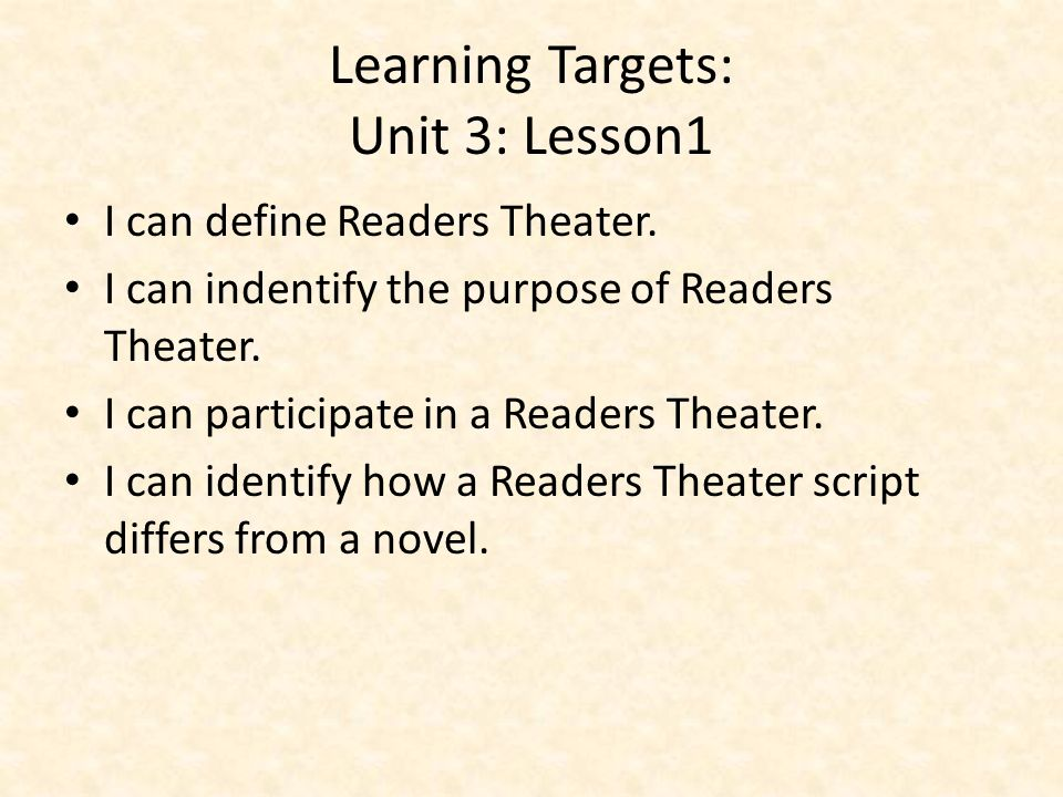 Learning Targets: Unit 3: Lesson1