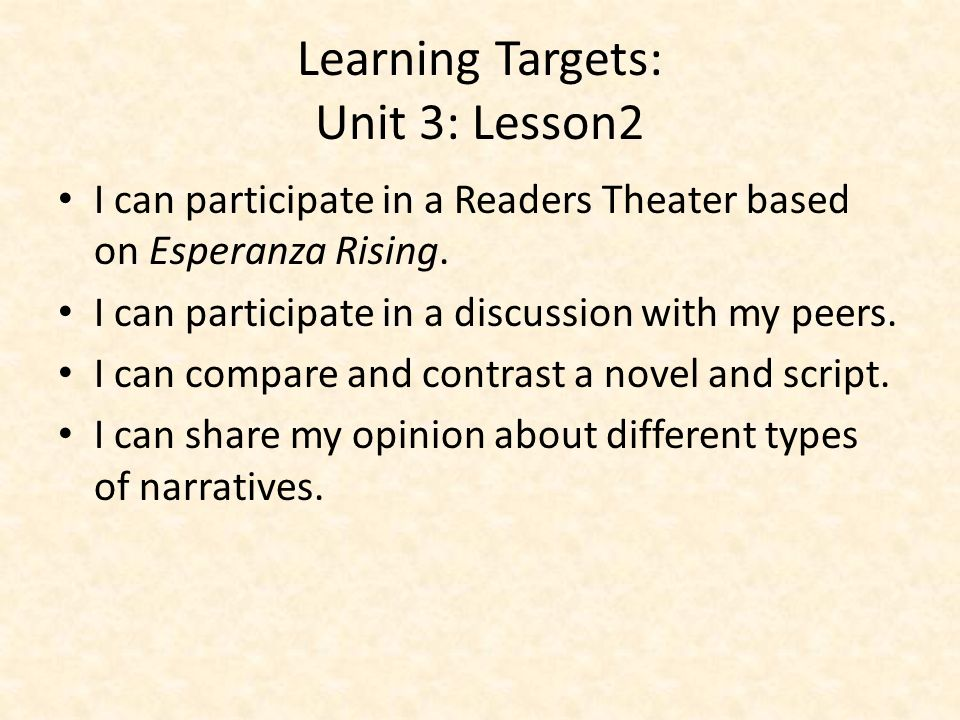 Learning Targets: Unit 3: Lesson2