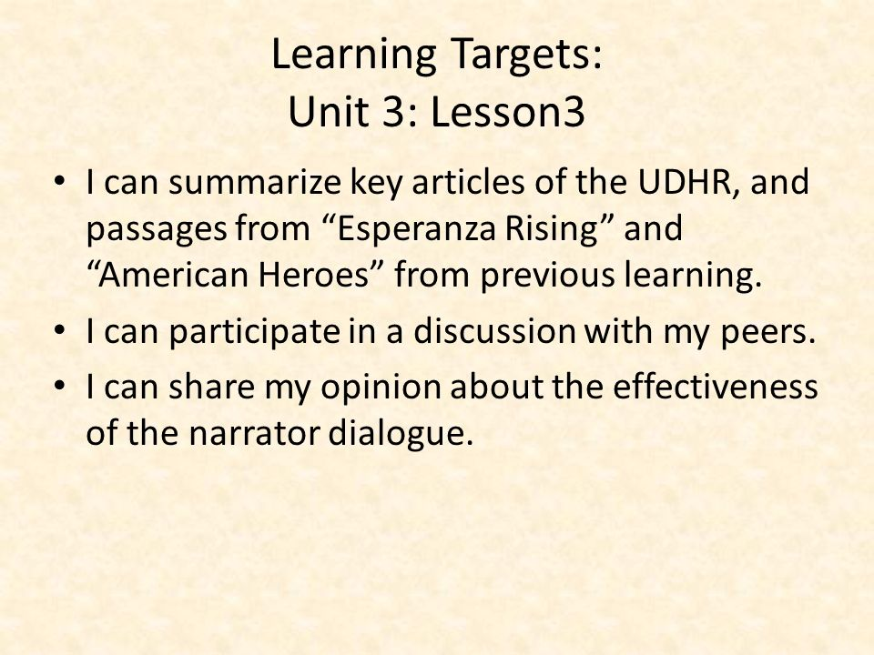 Learning Targets: Unit 3: Lesson3