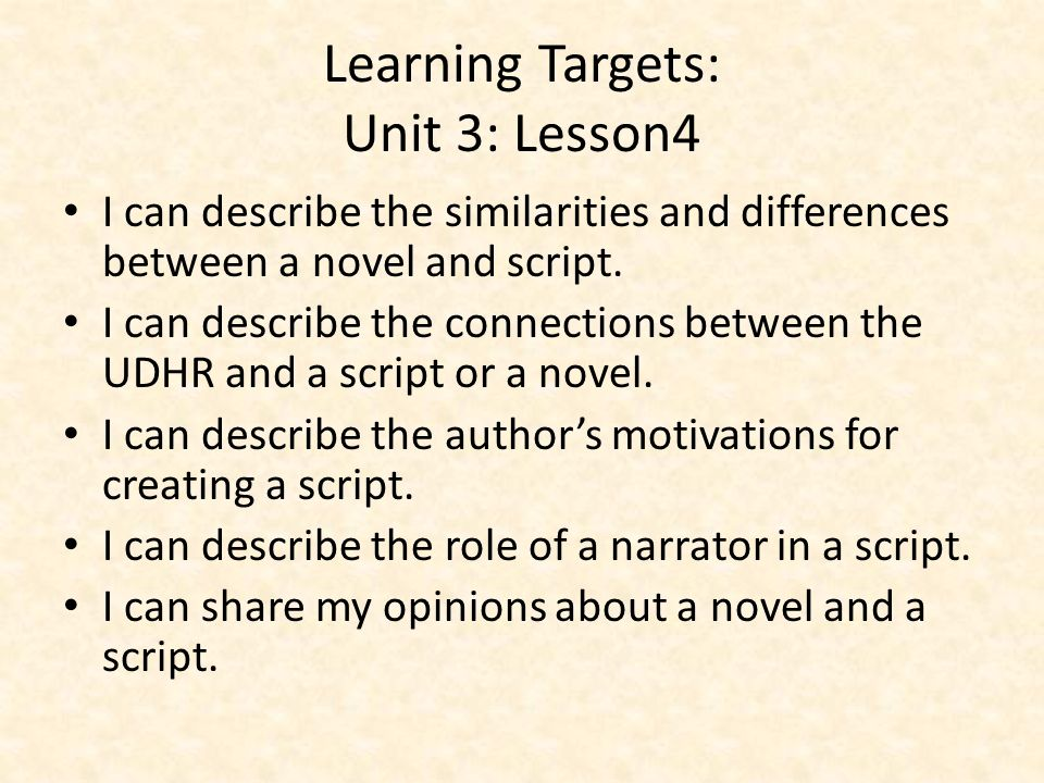Learning Targets: Unit 3: Lesson4
