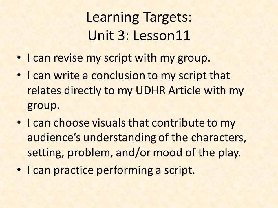 Learning Targets: Unit 3: Lesson11