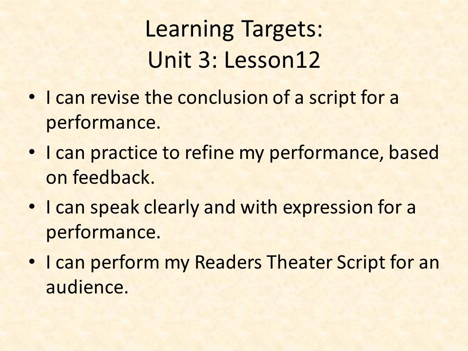 Learning Targets: Unit 3: Lesson12