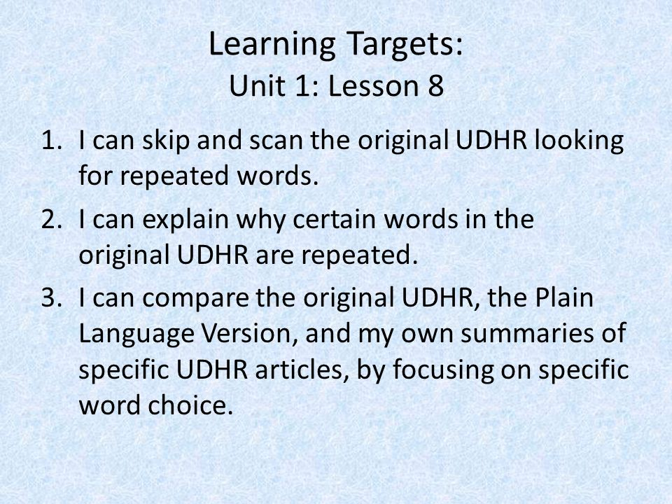 Learning Targets: Unit 1: Lesson 8