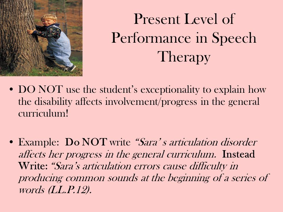 Present Level of Performance in Speech Therapy