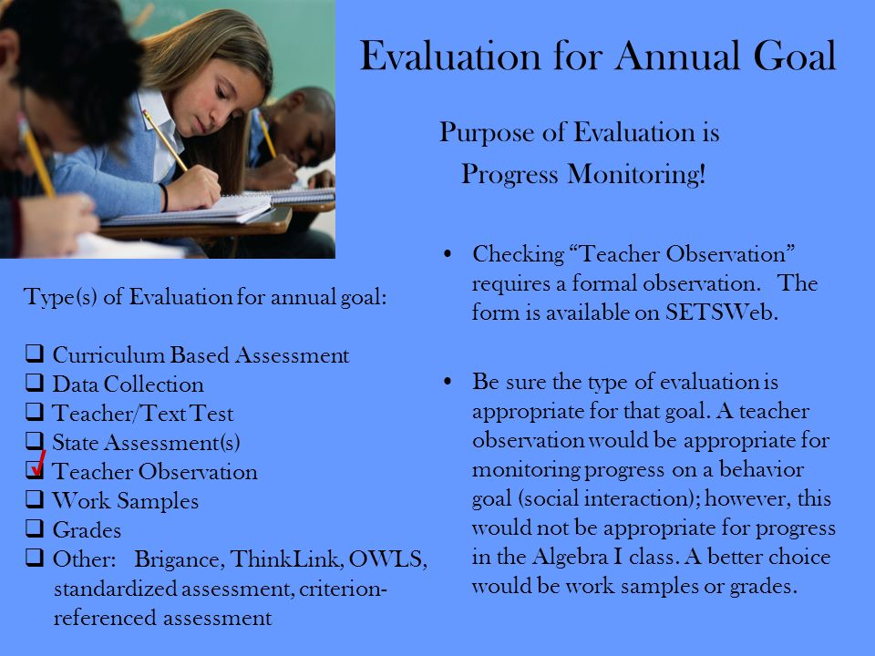 Evaluation for Annual Goal