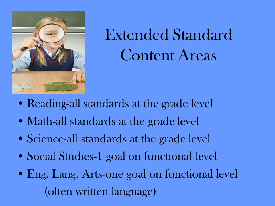 Extended Standard Content Areas