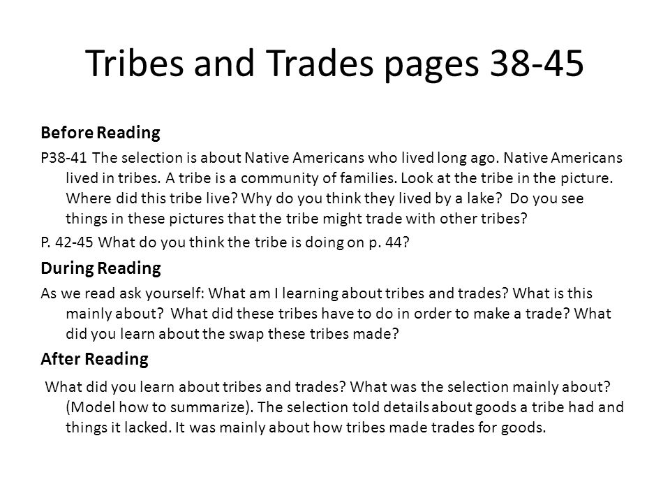 Tribes and Trades pages 38-45