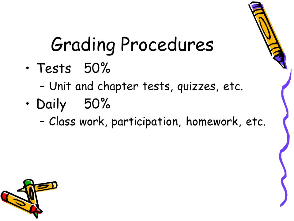 Grading Procedures Tests 50% Daily 50%