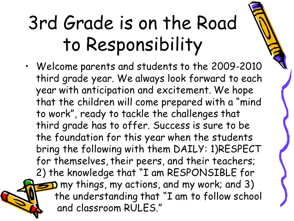 3rd Grade is on the Road to Responsibility
