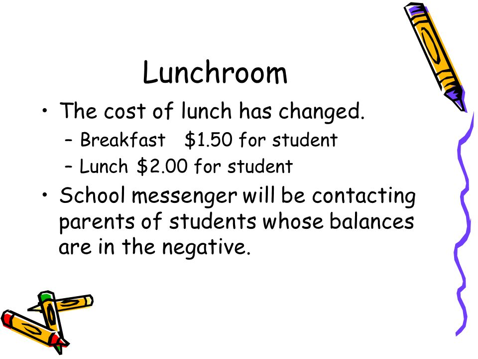 Lunchroom The cost of lunch has changed.