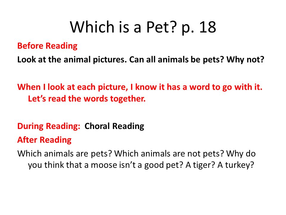 Which is a Pet p. 18