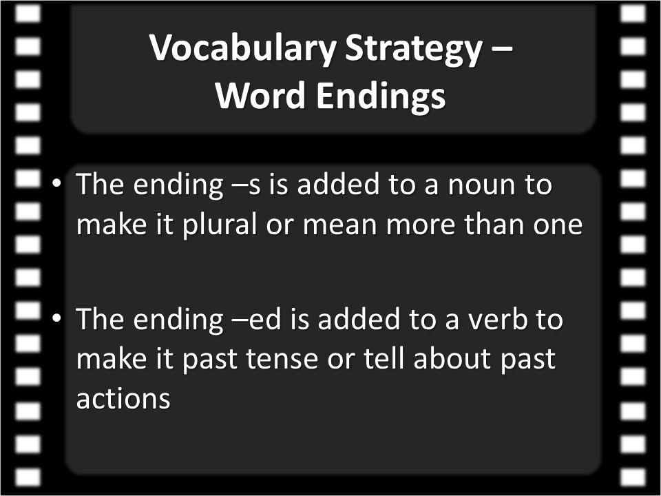 Vocabulary Strategy – Word Endings
