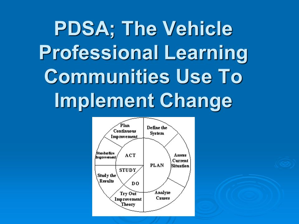 PDSA; The Vehicle Professional Learning Communities Use To Implement Change