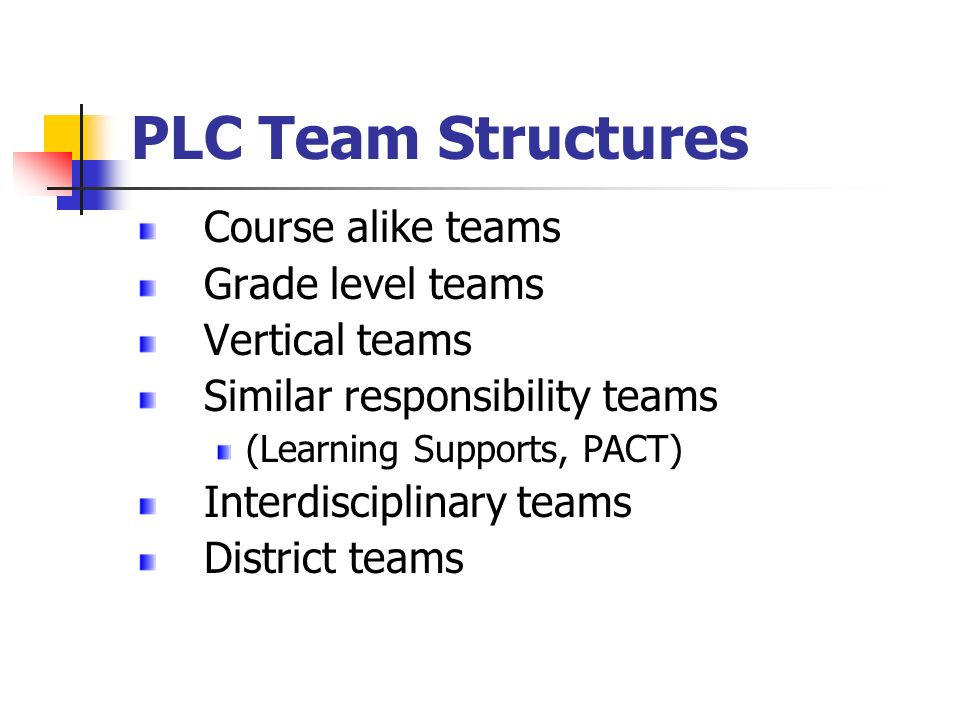 PLC Team Structures Course alike teams Grade level teams