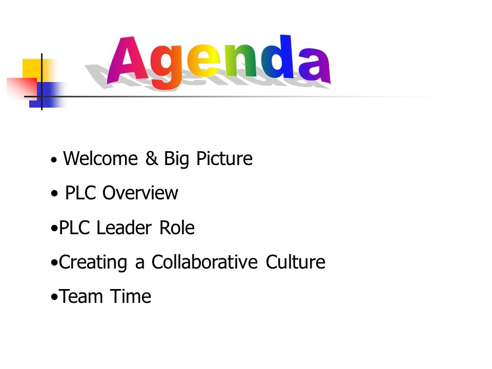 Agenda PLC Overview PLC Leader Role Creating a Collaborative Culture
