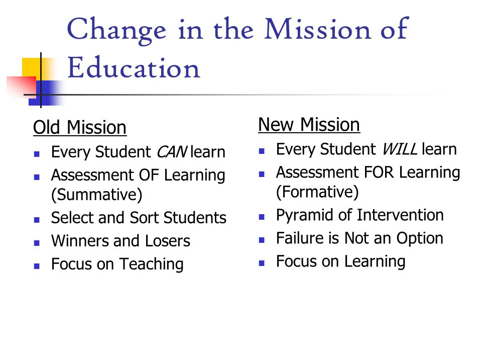 Change in the Mission of Education