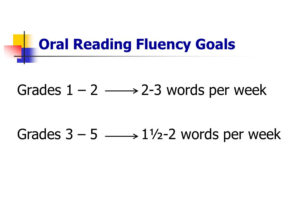 Oral Reading Fluency Goals